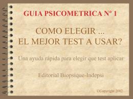 COMO ELEGIR EL MEJOR TEST A USAR...?