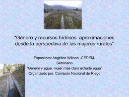 """""""Género y recursos hídricos: aproximaciones desde la perspectiva"""