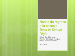 Noche de regreso a la escuela Back to School Night