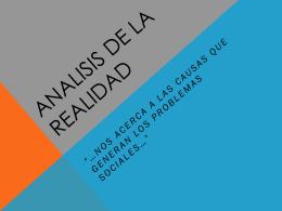 ANALISIS DE LA REALIDAD