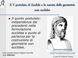 Il V postulato di Euclide e la nascita geometrie non euclidee