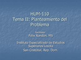 Profesor Rondon Tema 2 Planteamiento del Problema