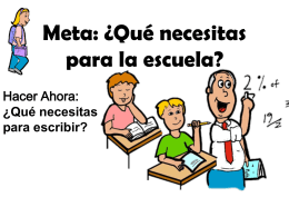 Meta: ¿Qué necesitas para la escuela?