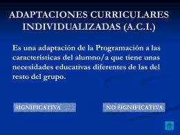 adaptaciones curriculares individualizadas (aci)