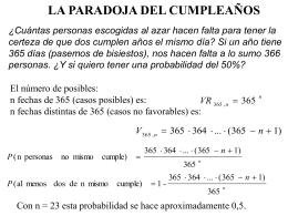 Presentación en PowerPoint sobre la Paradoja del Cumpleaños