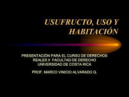 USUFRUCTO, USO Y HABITACIÓN