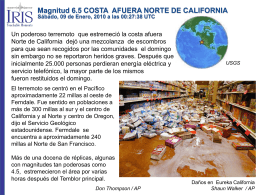 Magnitud 6.5 COSTA AFUERA NORTE DE CALIFORNIA