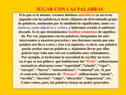 JUGAR CON LAS PALABRAS