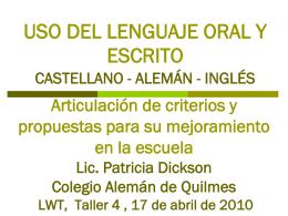 uso del lenguaje oral y escrito - AGDS :: Comunidad de Escuelas