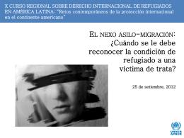 La protección de refugiados y solicitantes de asilo víctimas de trata
