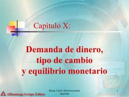 Capítulo X: Demanda de dinero, tipo de cambio y equilibrio monetario