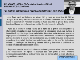 La justicia como equidad: política, no metafísica JOHN RAWLS