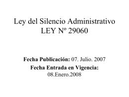 Ley del Silencio Administrativo LEY Nº 29060