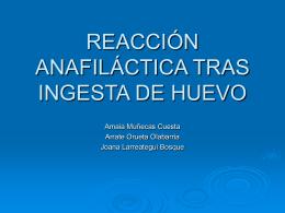 reacción anafiláctica tras ingesta de huevo - EXTRANET