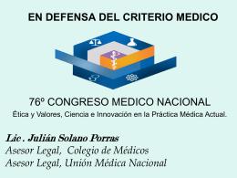 En defensa del criterio médico - Colegio de Médicos y Cirujanos de