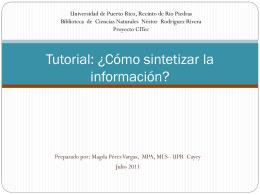 Tutorial: ¿Cómo sintetizar la información?
