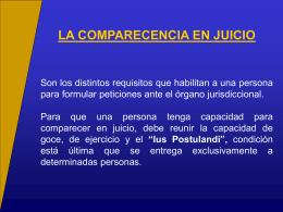 la comparecencia en juicio - Facultad de Derecho