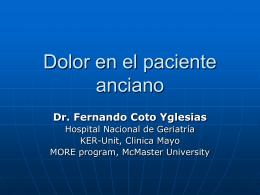 Dolor en el paciente anciano - Geriatría Clínica y Académica