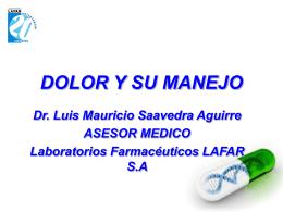 DOLOR Y SU MANEJO - Laboratorios Farmaceúticos LAFAR