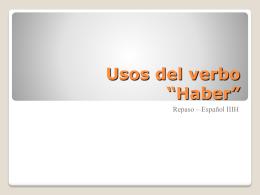 """Usos del verbo """"Haber"""""""