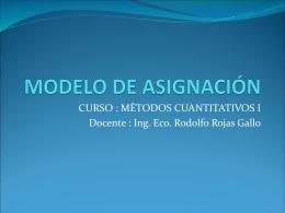 MODELO DE ASIGNACIÓN