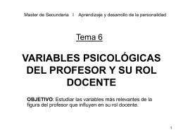 Tema 4: EL PROFESOR COMO ELEMENTO CLAVE DE LA