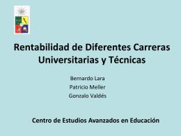 Tasas de Retorno para Diferentes Carreras Universitarias