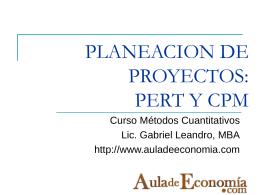 PLANEACION DE PROYECTOS: PERT Y CPM