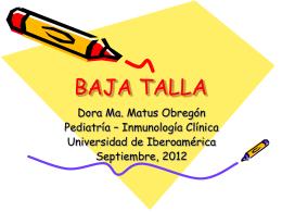 Baja Talla Presentción - Pediatría I y Patología II