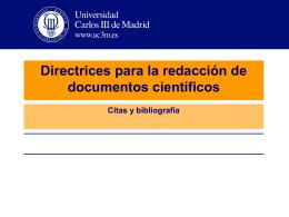 Directrices para la redacción de documentos científicos Citas y