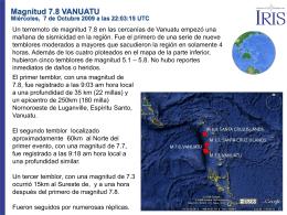 Magnitud 7.8 VANUATU Miércoles, 7 de Octubre 2009 a las