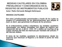 medidas cautelares en colombia prevalencia y concordancia en el