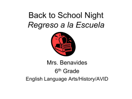 Back to School Night Regreso a la Escuela