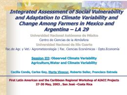 """""""mirar para arriba"""" vulnerabilidad y cambio climático: aspectos socio"""