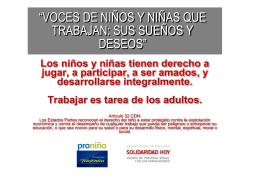 SUEÑOS Y PROBLEMAS DE LOS NIÑOS QUE TRABAJAN
