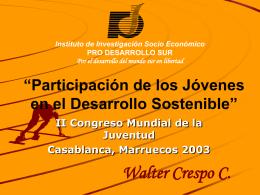 """Participación de los Jóvenes en el Desarrollo Sostenible"""""""