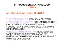 INTRODUCCIÓN A LA PSICOLOGÍA TEMA 2