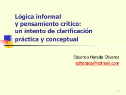 Lógica informal y pensamiento crítico: un intento de clarificación