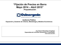 Presentación de Precios en Barra.