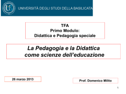 La Pedagogia e la Didattica come scienze dell`educazione