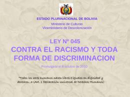 Ley N45 contra el racismo y toda forma de discriminación