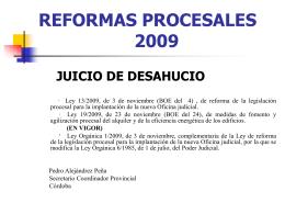 REFORMAS PROCESALES JUICIO DE DESAHUCIO