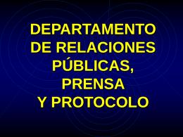 departamento de relaciones públicas, prensa y protocolo