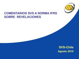 Comentarios SVS a norma IFRS sobre revelaciones