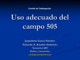 505 Nota de contenido con formato preestablecido (R)