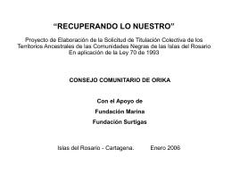 Historia de la población afrodescendiente de las Islas del Rosario