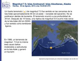 Magnitud 7.0, Isla Andreanof, Islas Aleutianas, Alaska Viernes