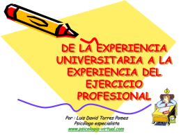 de la experiencia universitaria a la experiencia del ejercicio
