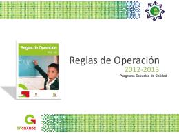 Presentación Reglas de Operación 2012