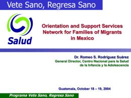 Programa Vete Sano, Regresa Sano Subsecretaría de Prevención y
